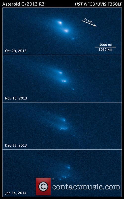 Hubble Witnesses Asteroid Breakup 5