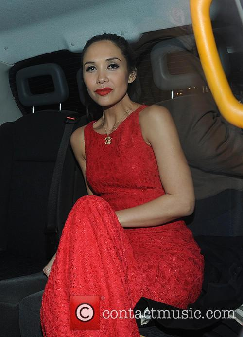 Myleene Klass leaving the The Waldorf Hilton Hote