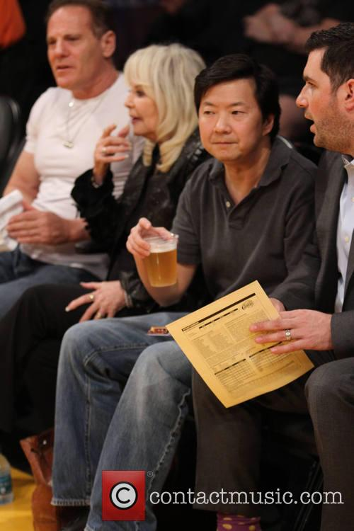 Celebrities at the Los Angeles Lakers v Los...