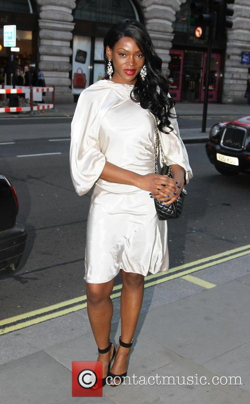 Caroline Chikezie arriving at Cafe Royal
