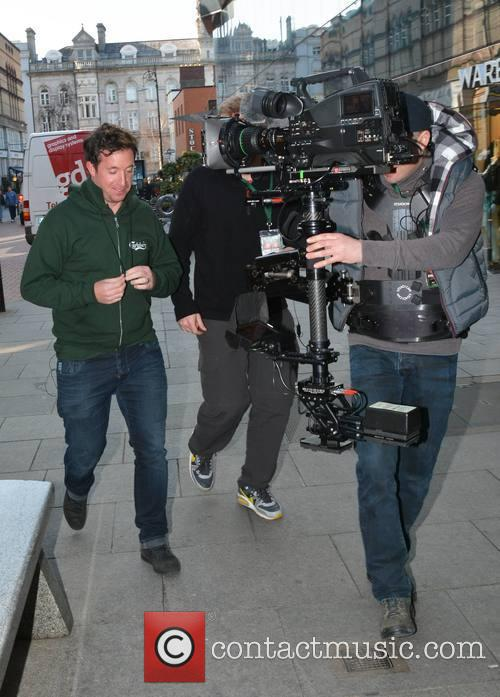 Robbie Fowler filming for a Carlsberg promo