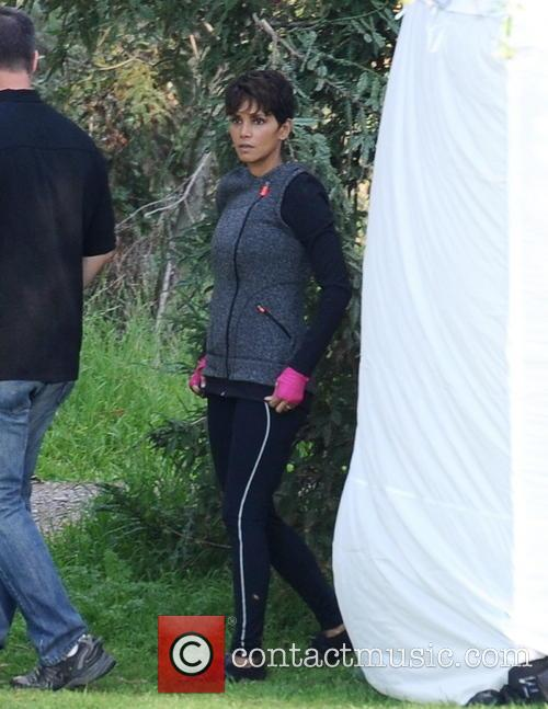 Halle Berry on the set of her new TV show 'Extant'