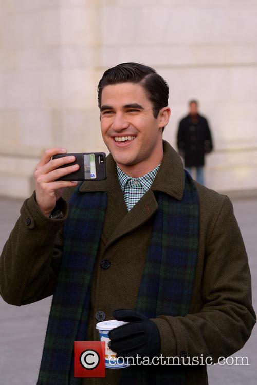 Cast members of 'Glee' filming in New York...