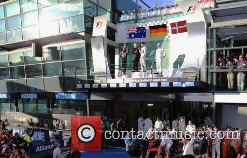 Nico Rosberg, Daniel Ricciardo and Kevin Magnussen 8