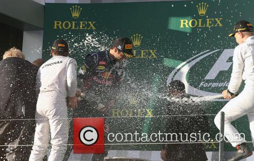 Nico Rosberg, Daniel Ricciardo and Kevin Magnussen 10
