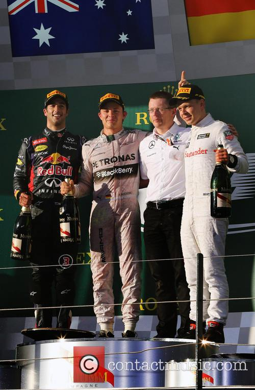 Nico Rosberg, Daniel Ricciardo and Kevin Magnussen 1