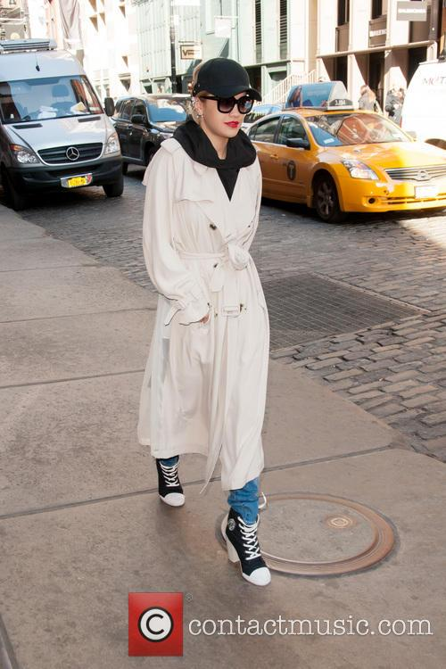 Rita Ora departs Manhattan hotel