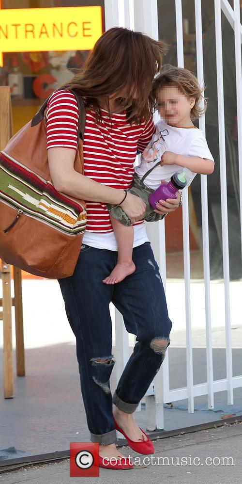 Selma Blair leaving The Coop with son