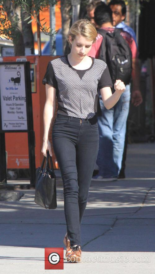 Emma Roberts Out In Copper Shoes