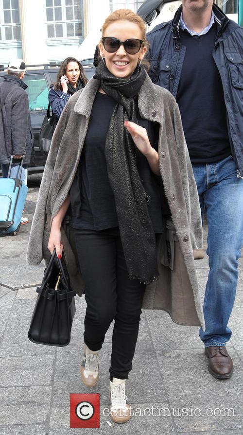 Kylie Minogue arriving at Gare du Nord