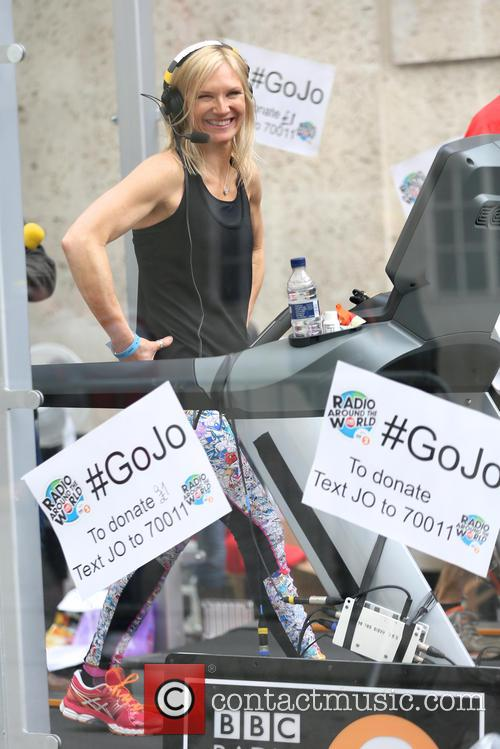 Jo Whiley running a 26 hour treadmill marathon...