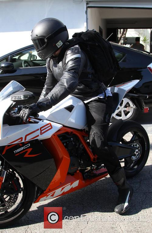 Bradley Cooper leaves a gym on his KTM...