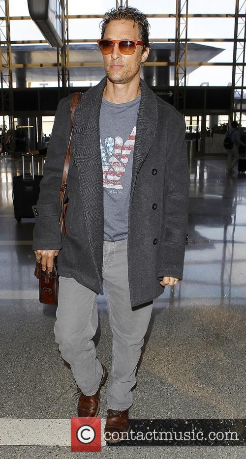 Matthew McConaughey arrives at Los Angeles International (LAX) airport