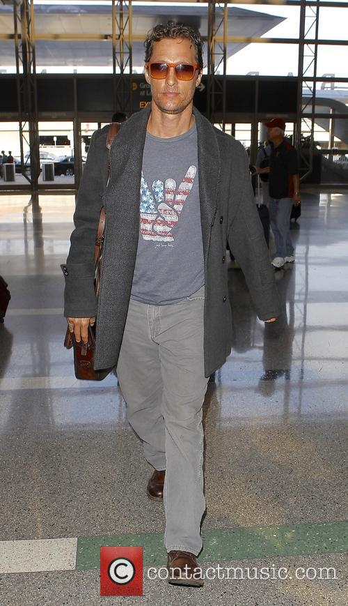 Matthew McConaughey arrives at Los Angeles International (LAX)...