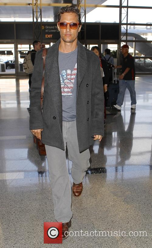 Matthew McConaughey arrives at Los Angeles International (LAX) airport