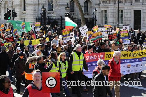 Large march by trade unionists and UAF to protest racism 12