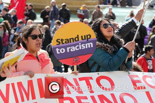 Large march by trade unionists and UAF to protest racism 14