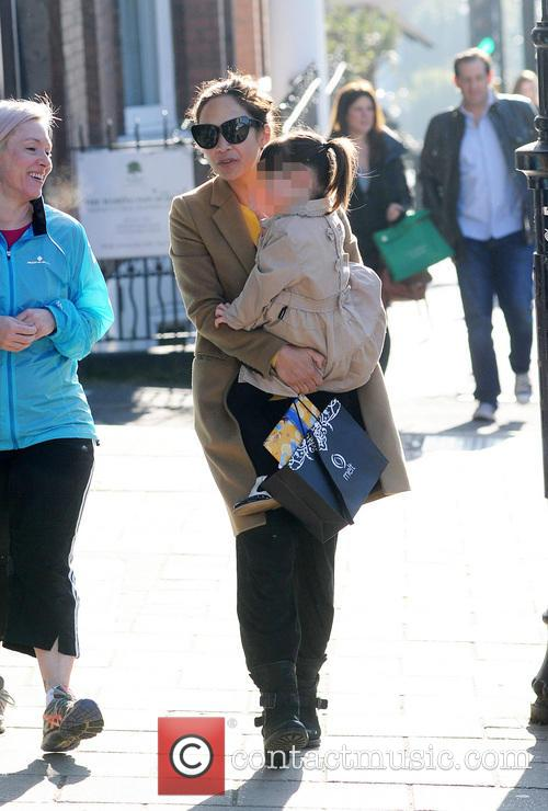 Myleene Klass and daughter Hero out and about...