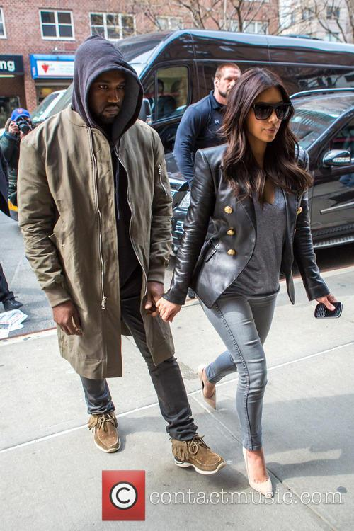 Kim Kardashian and Kanye West at the Greenwich...