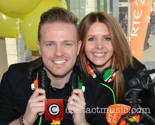 Nicky Byrne and Jenny Greene broadcast live for...