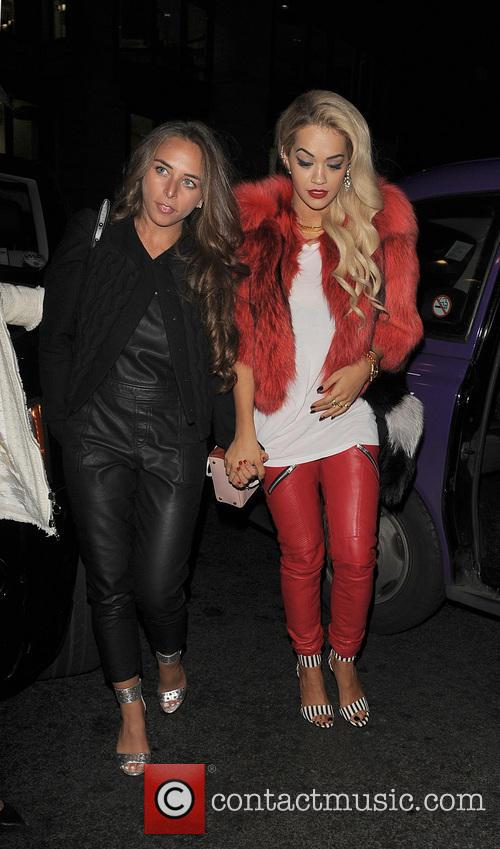 Rita Ora and Chloe Green arrive for dinner...