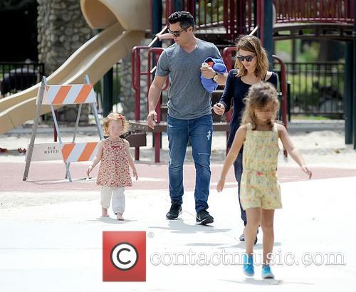 Jessica Alba and family go to a park