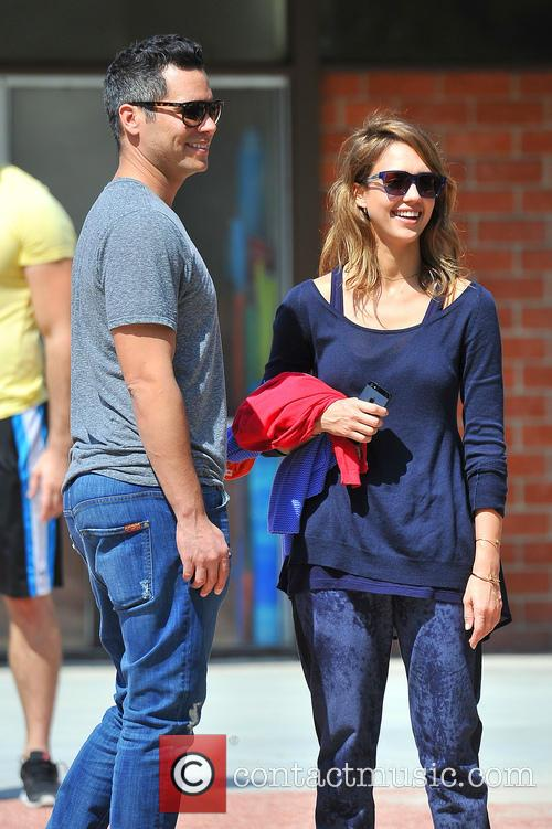 Jessica Alba heads to the park with her...