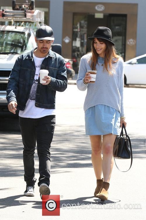Joe Jonas and Blanda Eggenschwiler leaving Alfred Cafe...