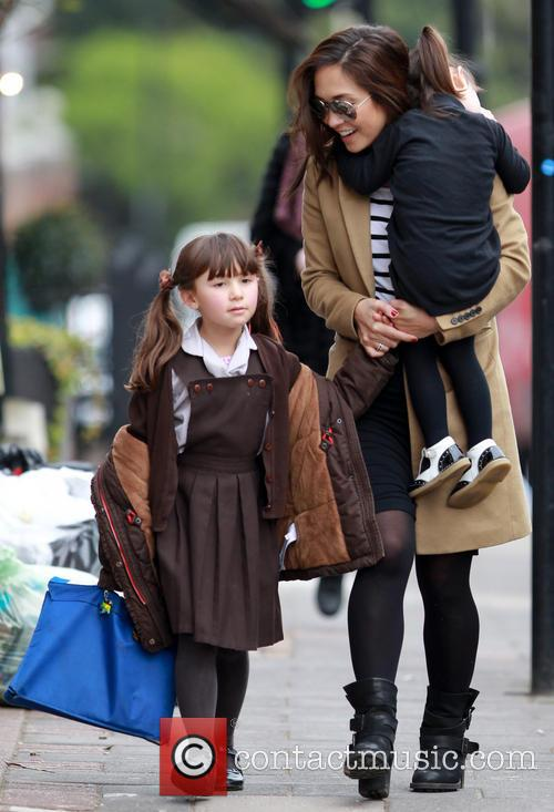 Myleene Klass out and about with her daughters