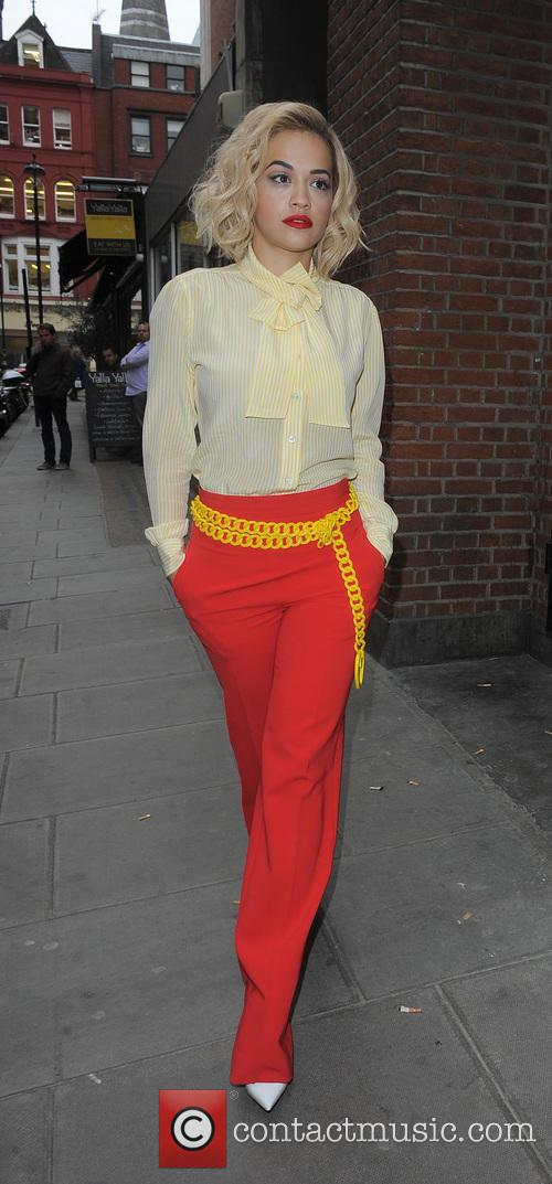 Rita Ora arriving at the Kiss FM studios, wearing a Ronald McDonald inspired outfit