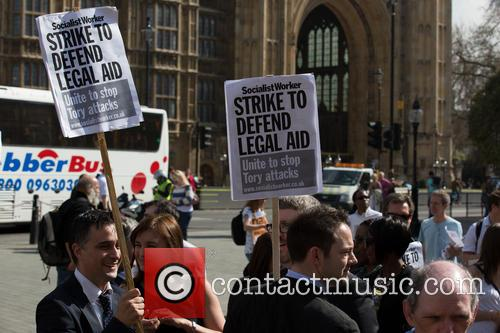 Lawyers and Probation Officers Demonstrate Outside Parliament Against...