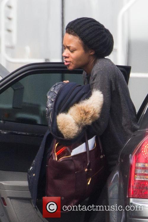 Naomie Harris arriving on set