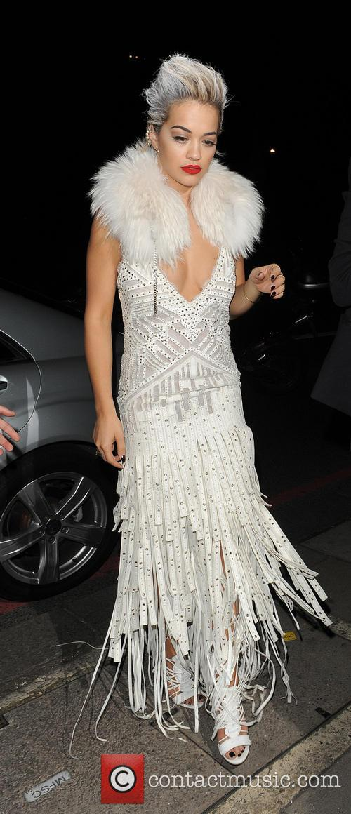 Rita Ora arriving at a private residence