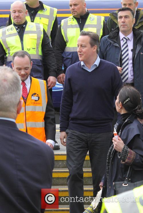 Prime Minister David Cameron visits Dawlish train station