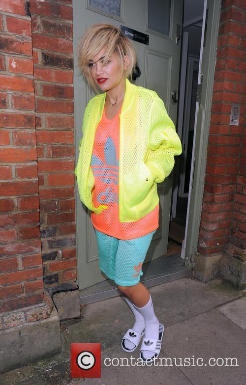 Rita Ora wearing an outlandish Adidas outfit