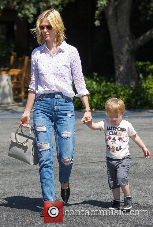 January Jones takes son Xander to lunch at...