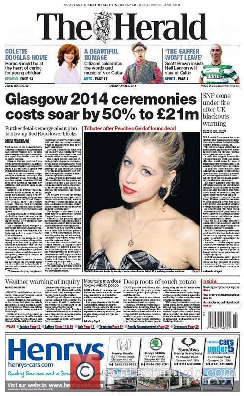 Peaches Geldof and The Herald (scotland) 6
