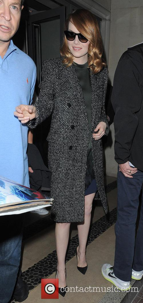 Jamie Foxx and Emma Stone leaving their hotel