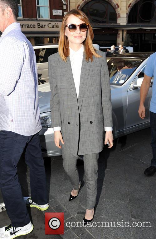 Emma Stone arriving at Capital FM