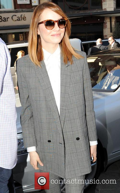 Emma Stone arriving at Capital FM