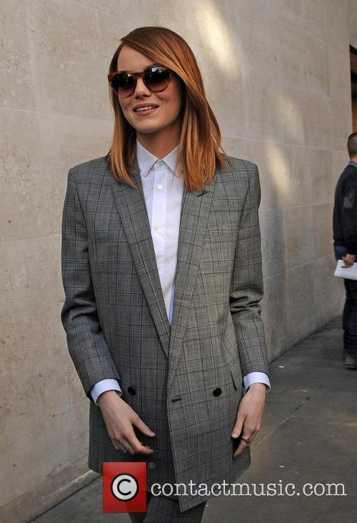 Emma Stone outside BBC Radio 1