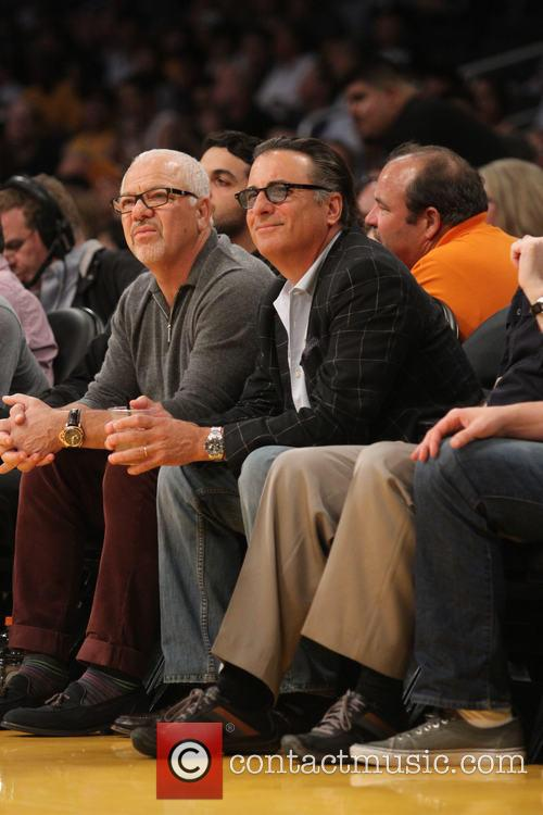 Celebrities watching the Los Angeles Lakers v Houston...