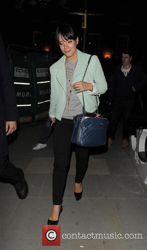 Lily Allen leaves the Radio 1 studios, and...