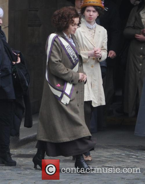 Helena Bonham Carter filming scenes for the movie 'Suffragette'