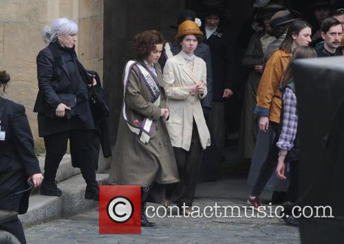 Helena Bonham Carter filming scenes for the movie 'Suffragette'