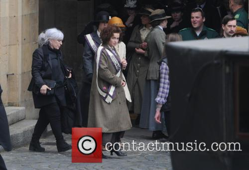 Helena Bonham Carter filming scenes for the movie...