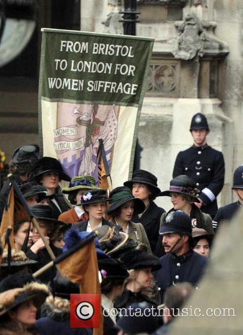 Suffragettes filming in London
