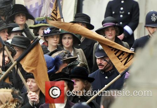 Carey Mulligan and Helena Bonham Carter filming scenes...