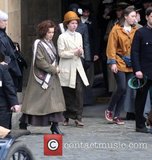 Helena Bonham-Carter filming scenes from Sufragette
