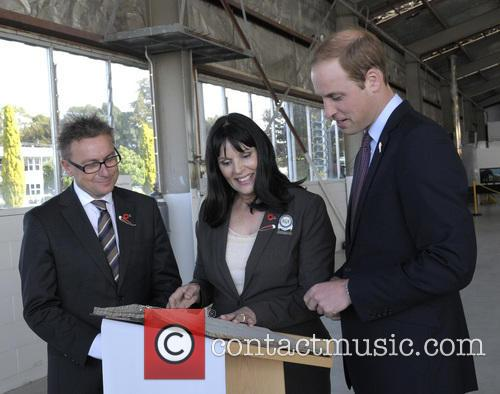 Prince William, Mayor of Hamilton Julie Hardaker, Hamilton Airport
